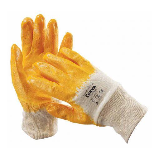 cerva harrier mártott nitril munkavédelmi kesztyű sárga/fehér