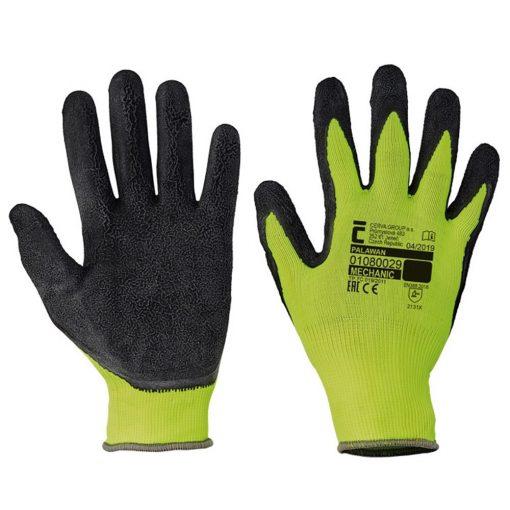cerva palawan nylon latex mártott munkavédelmi kesztyű fekete/sárga