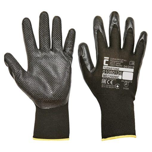 cerva turnstone munkavédelmi kesztyű mártott nitril fekete (12pár/cs)
