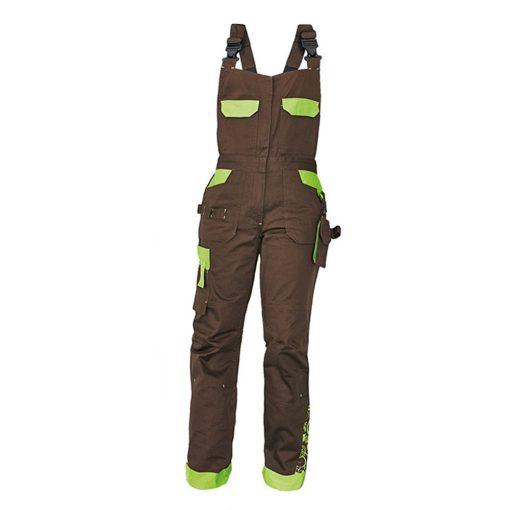 crv yowie női munkavédelmi mellesnadrág barna/zöld 38