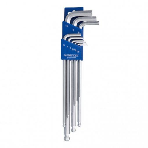 king tony 9 részes gömbvégű hosszú imbuszkészlet 1,5-10mm (20109MR)
