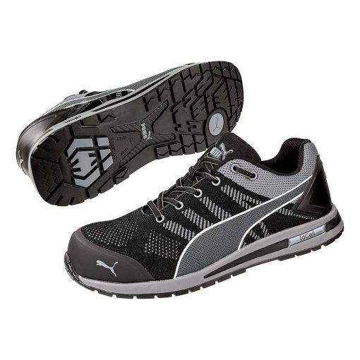 puma elevate knit black munkavédelmi cipő fekete/szürke s1p esd hro src