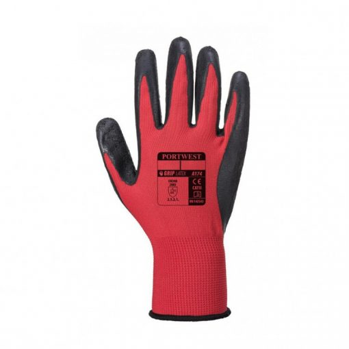 portwest flex grip latex glove fekete/piros
